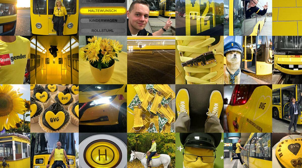 Ein Mosaik aus Fotos von BVG-Mitarbeiter*innen, die alle etwas Gelbes abbilden, z.B. gelbe Turnschuhe, gelbe Blumen und einen Hund mit Fahrer-Mütze vor einem BVG-Bus.
