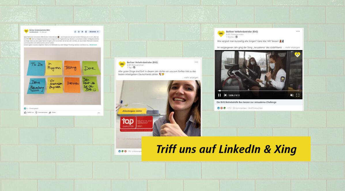 Auf einem Hintergrund mit mintfarbenen Fliesen sind Screenshots von BVG-Posts auf Xing und LinkedIn zu sehen