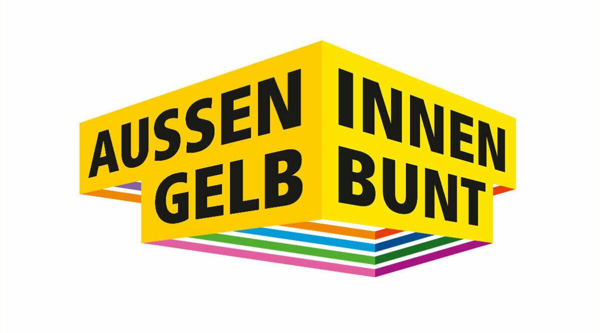 Diversity Logo mit dem Schriftzug Aussen Gelb Innen Bunt.