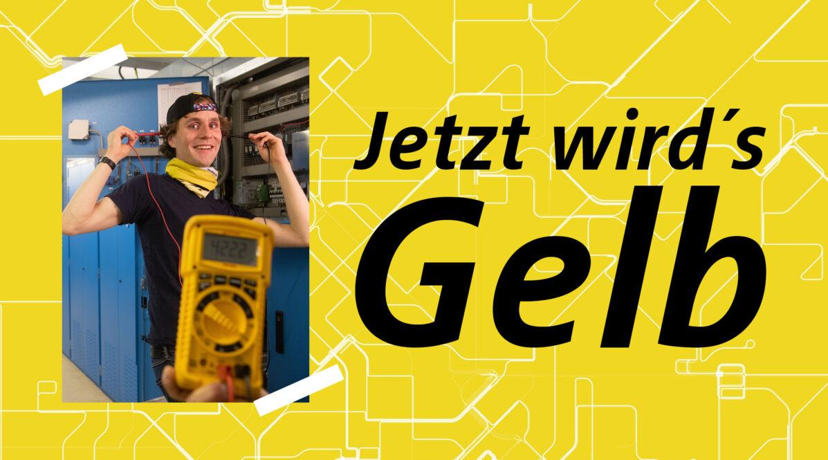 BVG-Elektroingenieur mit gelbem Messgerät